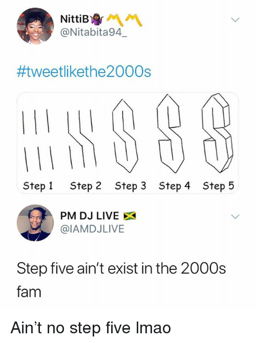 Fam, Lmao, and Live: @Nitabita94  #tweetlikethe2000s  Step 1  Step 2  Step 3  Step 4  Step 5  PM DJ LIVE X  @IAMDJLIVE  Step five ain't exist in the 2000s  fam Ain't no step five lmao