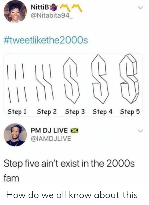 Step 1: NittiB  @Nitabita94  #tweetlikethe2000s  Step 1  Step 2  Step 3  Step 4  Step 5  PM DJ LIVE  @IAMDJLIVE  Step five ain't exist in the 2000s  fam How do we all know about this