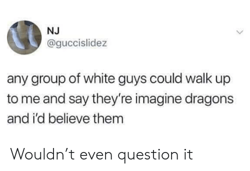 white guys: NJ  @guccislidez  any group of white guys could walk up  to me and say they're imagine dragons  and i'd believe them Wouldn't even question it