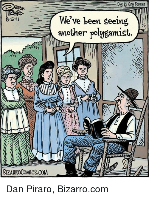 memes: Nm  BIZARROCOMICS.COM  Di  e've been seeing  another polygamist. Dan Piraro, Bizarro.com
