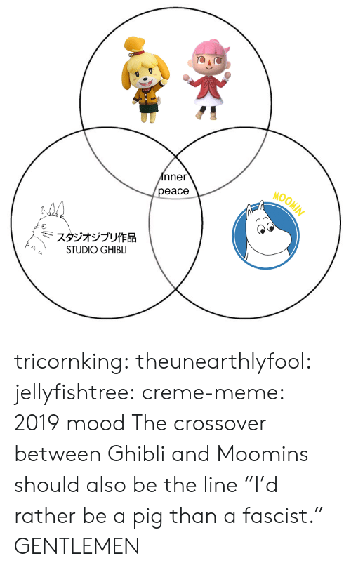 "creme: nner  eace  MOOM  スタジオジブリ作品  STUDIO GHIBLI tricornking: theunearthlyfool:  jellyfishtree:  creme-meme: 2019 mood  The crossover between Ghibli and Moomins should also be the line ""I'd rather be a pig than a fascist.""   GENTLEMEN"