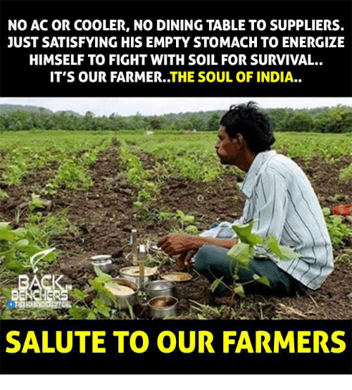 No Ac: NO AC OR COOLER, NO DINING TABLE TO SUPPLIERS.  JUST SATISFYING HIS EMPTY STOMACH TO ENERGIZE  HIMSELF TO FIGHT WITH SOIL FOR SURVIVAL.  IT'S OUR FARMER..THE SOUL OF INDIA..  SALUTE TO OUR FARMERS