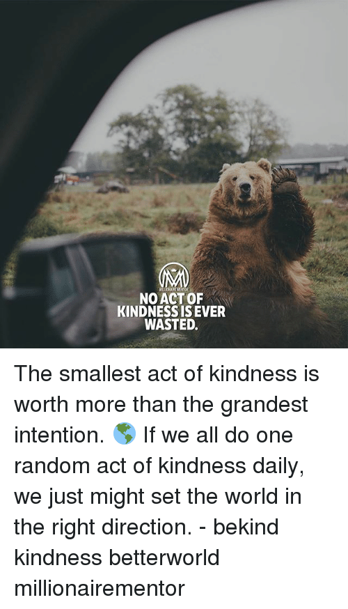 Memes, World, and Kindness: NO ACT OF  KINDNESS IS EVER  WASTED. The smallest act of kindness is worth more than the grandest intention. 🌎 If we all do one random act of kindness daily, we just might set the world in the right direction. - bekind kindness betterworld millionairementor