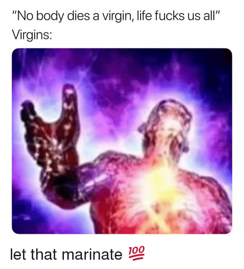"marinate: ""No body dies a virgin, life fucks us all""  Virgins: let that marinate 💯"