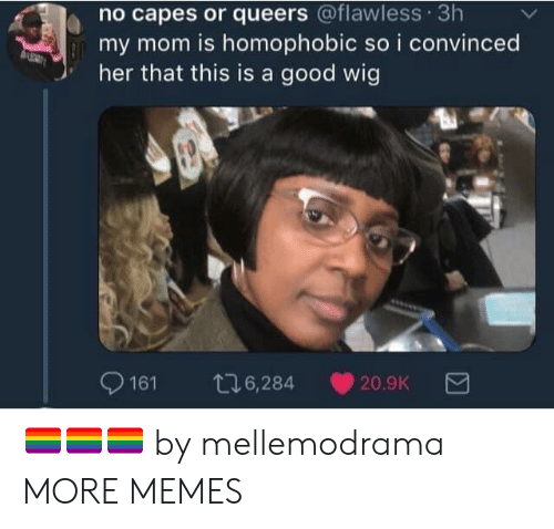 No Capes: no capes or queers @flawless 3h  my mom is homophobic so i convinced  her that this is a good wig  9161 t6,284 20.9K 🏳️🌈🏳️🌈🏳️🌈 by mellemodrama MORE MEMES