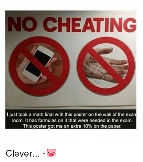 Cheating, Memes, and Math: NO CHEATING  I just took a math final with this poster on the wall of the exan  room. It has formulas on it that were needed in the exam.  This poster got me an extra 10% on the paper. Clever... -🐷