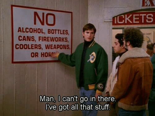 hor: NO  CKETS  ALCOHOL, BOTTLES,c  CANS, FIREWORKS  COOLERS, WEAPONS  OR HOR  Man, I can't go in there.  I've got all that stuf