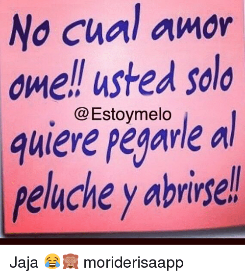 Memes, 🤖, and Solo: No Cual amor  ome!l usted solo  peavle a  peluche y abrise  @Estoymelo Jaja 😂🙈 moriderisaapp