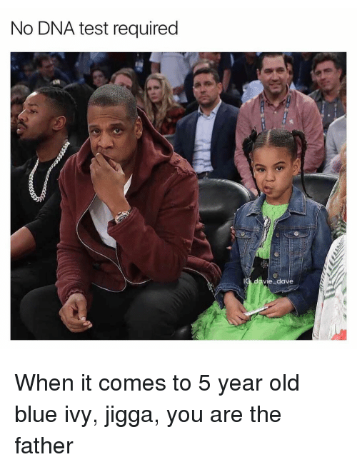 Blue Ivy: No DNA test required  davie dave When it comes to 5 year old blue ivy, jigga, you are the father