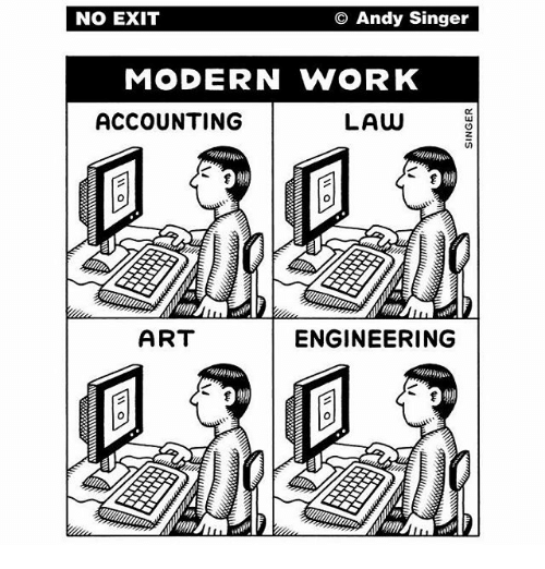 Dank, Work, and Engineering: NO EXIT  O Andy Singer  MODERN WORK  ACCOUNTING  LAW  ART  ENGINEERING