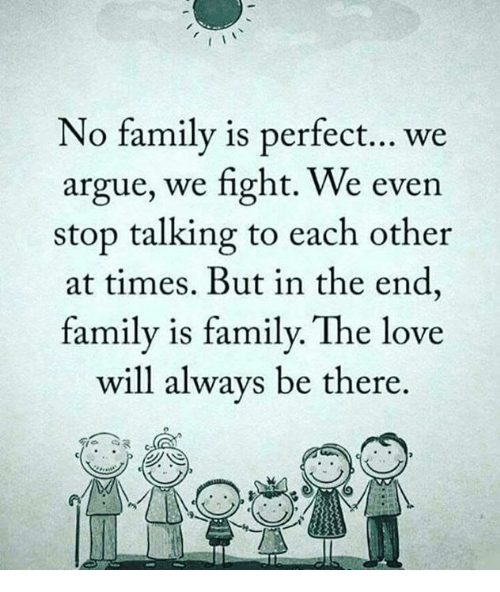 We Love Each Other Meme: No Family Is Perfect We Argue We Fight We Even Stop