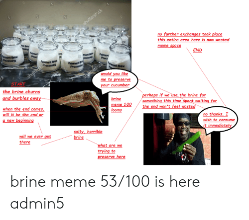 Wasted Meme: no further exchanges took place  this entire area here is now wasted  meme space  END  mont  would you like  me to preserve  your cucumbe  START  the brine churns  and burbles away  perhaps if we use the brine for  brine  something this time spent waiting for  meme 100the end won't feel wasted  when the end comes  will it be the end or  a new beginning  looms  no thanks I  wish to consume  it immediatel  salty, horrible  brine  will we ever get  there  at are we  trying to  preserve here brine meme 53/100 is here admin5