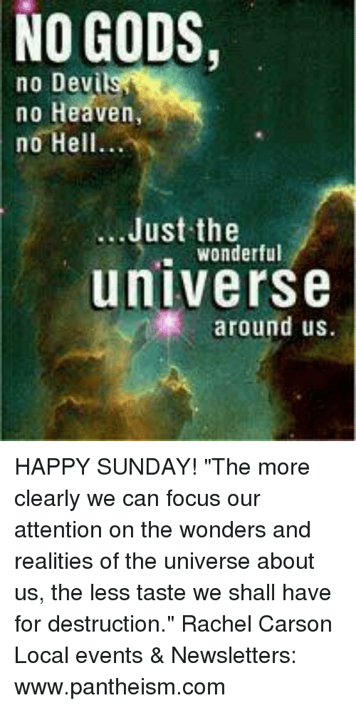 """Heaven, Memes, and 🤖: NO GODS,  no Devi  no Heaven,  no Hell...  Just the  wonderfu  universe  around us HAPPY SUNDAY!  """"The more clearly we can focus our attention on the wonders and realities of the universe about us, the less taste we shall have for destruction."""" Rachel Carson  Local events & Newsletters: www.pantheism.com"""
