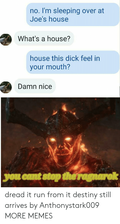 destiny: no. I'm sleeping over at  Joe's house  What's a house?  house this dick feel in  your mouth?  Damn nice  you cant stop the ragnarok dread it run from it destiny still arrives by Anthonystark009 MORE MEMES