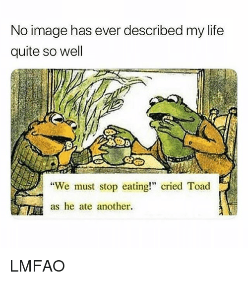 """Life, Image, and Quite: No image has ever described my life  quite so well  """"We must stop eating!"""" cried Toad  as he ate another LMFAO"""