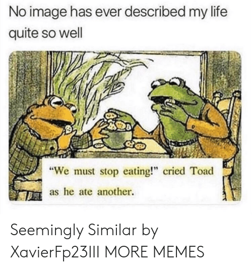 "seemingly: No image has ever described my life  quite so well  We must stop eating!"" cried Toad  as he ate another. Seemingly Similar by XavierFp23III MORE MEMES"