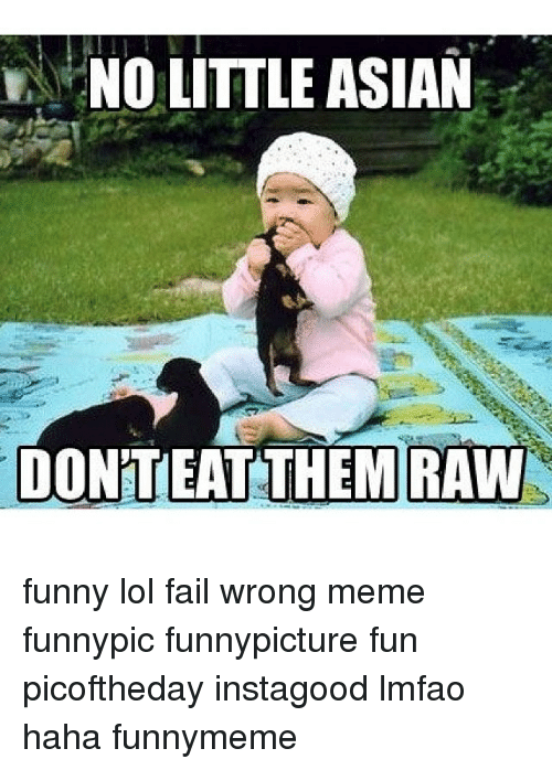 no little asian donteat them raw funny lol fail wrong 289523 🔥 25 best memes about asian, fail, and meme asian, fail, and memes,Asian Memes