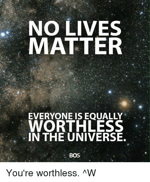 NO LIVES MATTER EVERYONE IS EOUALLY WORTHLESS IN THE ...