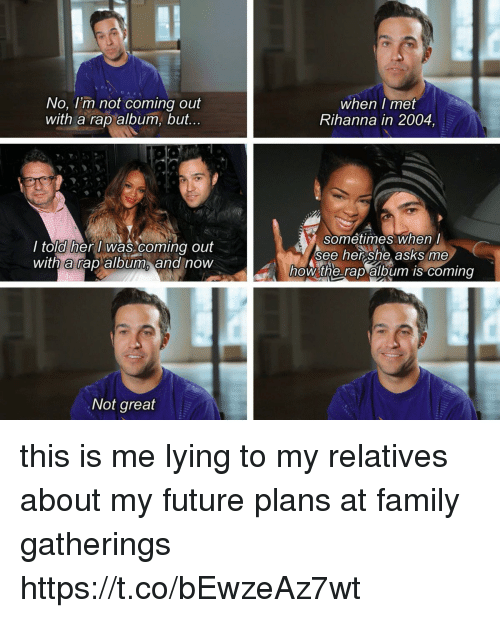 Family, Future, and Rap: No, l'm not coming out  with a rap album, but...  when I met  Rihanna in 2004,  l told her i was coming out  with rap album and now  sometimes when  See her she asks me  how the raplalbum is coming  Not great this is me lying to my relatives about my future plans at family gatherings https://t.co/bEwzeAz7wt