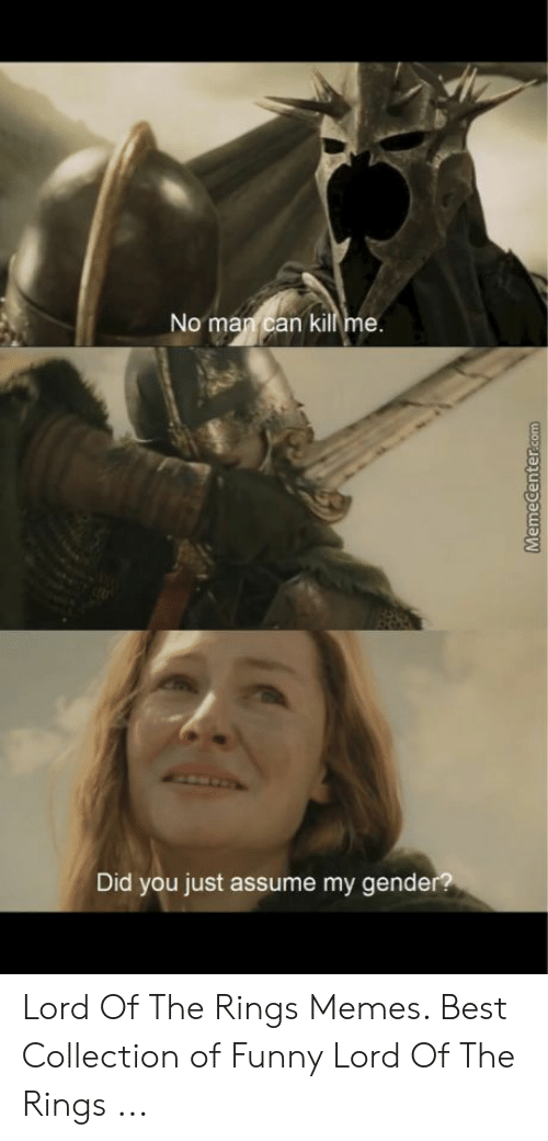 Funny Lord Of The Rings: No man can kill me  Did you just assume my gende Lord Of The Rings Memes. Best Collection of Funny Lord Of The Rings ...
