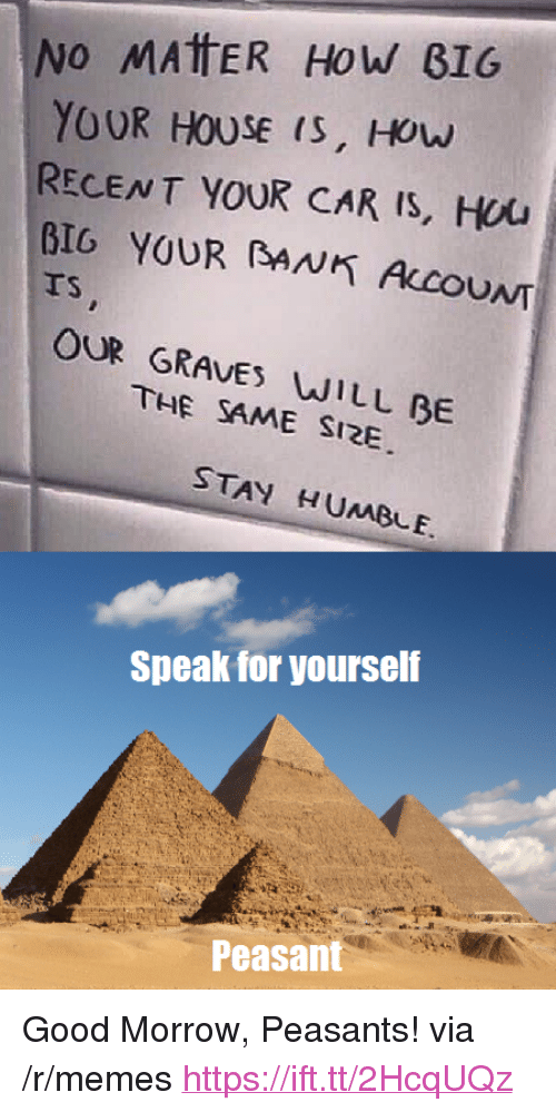 """Stay Humble: No MAtER HoW B16  YOUR HOUSE (S, HOw  RECENT YOUR CAR Is, Hou  BIG YOUR BANK ALCOUNT  TS  OUR GRAVES WILL BE  THE SAME SI2E  STAY HUMBLE.  Speak for yourself  Peasant <p>Good Morrow, Peasants! via /r/memes <a href=""""https://ift.tt/2HcqUQz"""">https://ift.tt/2HcqUQz</a></p>"""