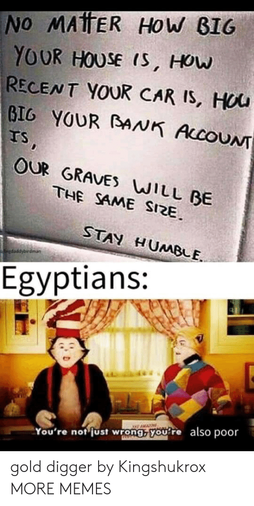 digger: No MATTER HOw BIG  YOUR HOUSE IS, HOw  RECENT YOUR CAR IS, HUU  GIG YOUR BANK AccoUN  Ts,  OUR GRAVES WILL BE  THE SAME SIZE  STAN HUMBLE  kaiedaddybirdman  Egyptians:  You're not just wrong, you re also poor gold digger by Kingshukrox MORE MEMES