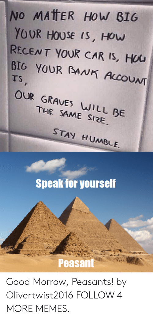 Stay Humble: No MATTER How BIG  YOUR HOUSE IS, How  RECENT YOUR CAR IS, HUU  BIG YOUR BANK ALCOUNT  TS,  OUR GRAVES WILL BE  THE SAME SIZE  STAY HUMBLE  Speak for yourself  Peasant Good Morrow, Peasants! by Olivertwist2016 FOLLOW 4 MORE MEMES.