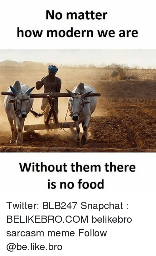 following: No matter  how modern we are  Without them there  is no food Twitter: BLB247 Snapchat : BELIKEBRO.COM belikebro sarcasm meme Follow @be.like.bro