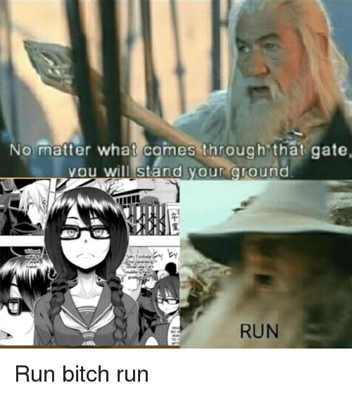 run bitch run: No matter what comes through that gate.  vou  will stand your oroumd  RUN