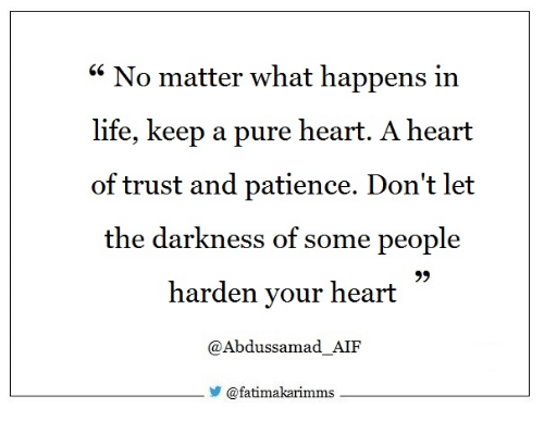 "Life, Heart, and Patience: ""No matter what happens in  life, keep a pure heart. A heart  of trust and patience. Don't let  the darkness of some people  harden your heart  9)  @Abdussamad AIF  У @fatimakan mms"