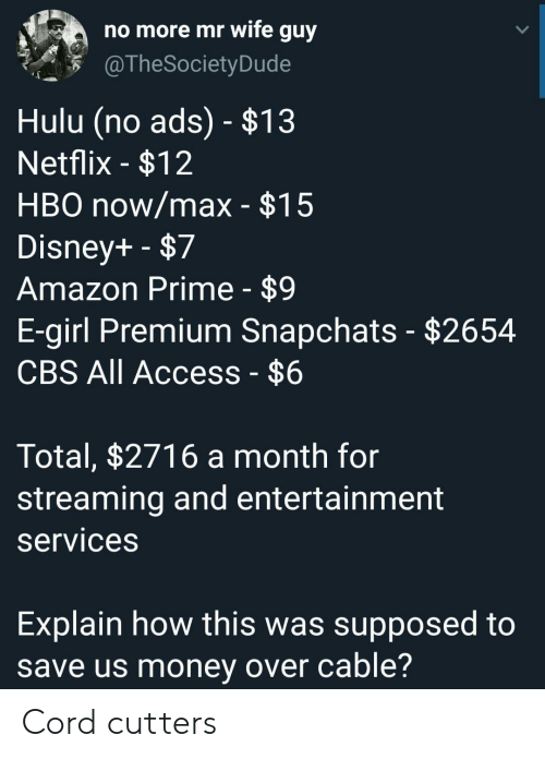 Access: no more mr wife guy  @TheSociety Dude  Hulu (no ads) - $13  Netflix -$12  HBO now/max - $15  Disney+ -$7  Amazon Prime - $9  E-girl Premium Snapchats - $2654  CBS All Access - $6  Total, $2716 a month for  streaming and entertainment  services  Explain how this was supposed to  save us money over cable? Cord cutters