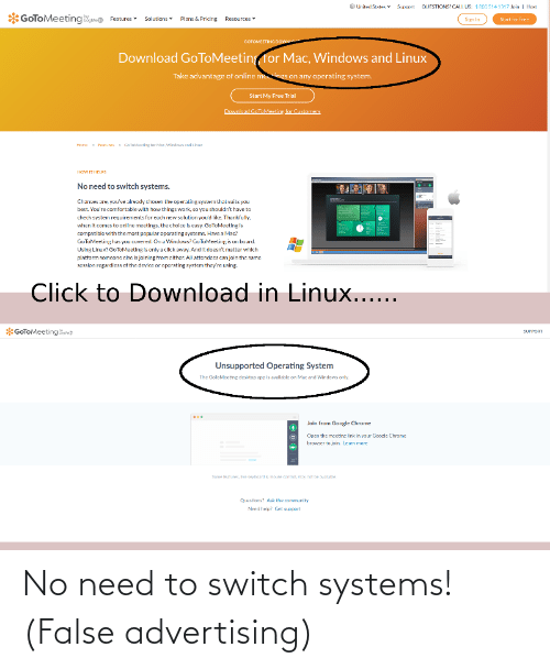 False Advertising: No need to switch systems! (False advertising)