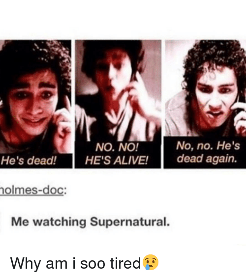 watch supernatural: No, no. He's  NO, NO!  He's dead!  HE'S ALIVE!  dead again.  nolmes-doc:  Me watching Supernatural. Why am i soo tired😢