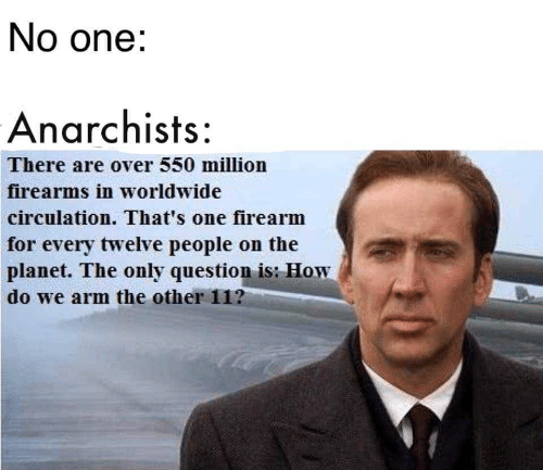 Circulation: No one:  Anarchists:  There are over 550 million  firearms in worldwide  circulation. That's one firearm  for every twelve people on the  planet. The only question is: How  do we arm the other 11?
