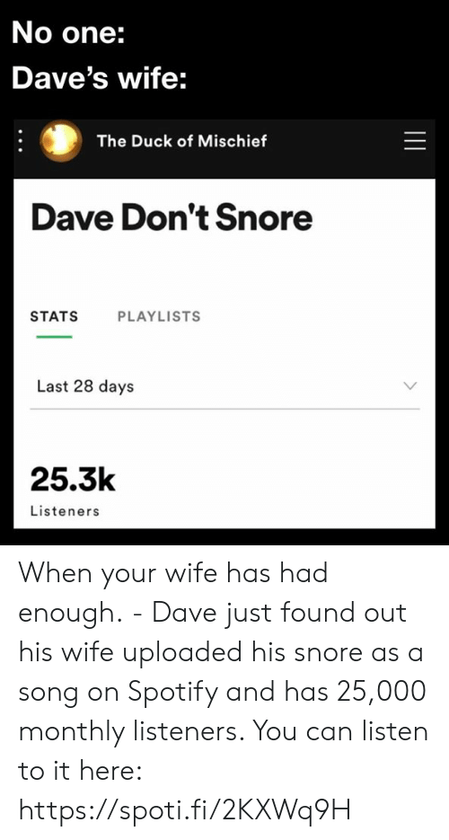 The Duck: No one:  Dave's wife:  The Duck of Mischief  Dave Don't Snore  STATS  PLAYLISTS  Last 28 days  25.3k  Listeners  || When your wife has had enough. - Dave just found out his wife uploaded his snore as a song on Spotify and has 25,000 monthly listeners. You can listen to it here: https://spoti.fi/2KXWq9H