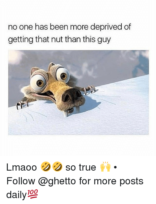 Thats Nuts: no one has been more deprived of  getting that nut than this guy Lmaoo 🤣🤣 so true 🙌 • ➫➫ Follow @ghetto for more posts daily💯