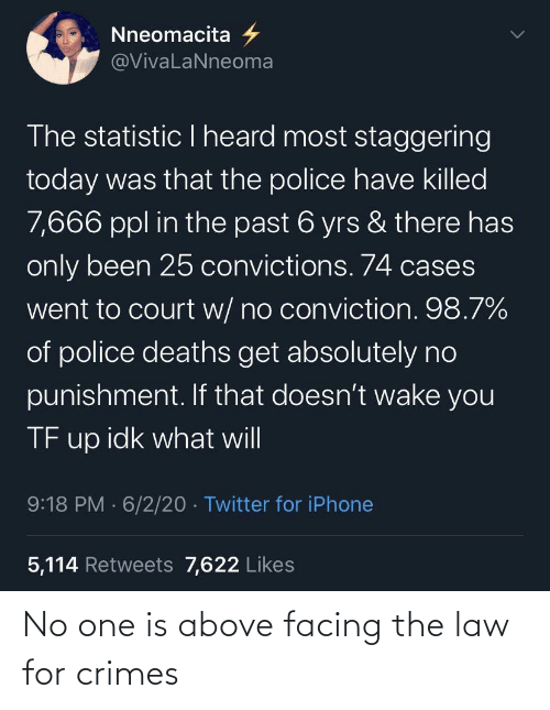 Above: No one is above facing the law for crimes