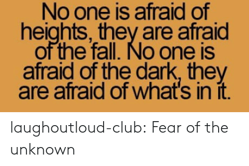Afraid Of Heights: No one is afraid of  heights, they are afraid  of the fall. No one is  afraid of the dark, they  are afraid of what's in it. laughoutloud-club:  Fear of the unknown