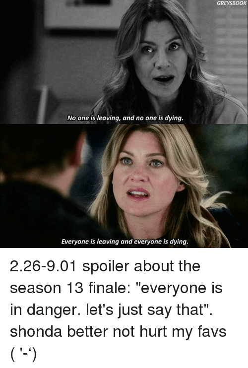 """Memes, Book, and Grey: No one is leaving, and no one is dying.  Everyone is leaving and everyone is dying.  GREY BOOK 2.26-9.01 spoiler about the season 13 finale: """"everyone is in danger. let's just say that"""". shonda better not hurt my favs (ง'̀-'́)ง"""