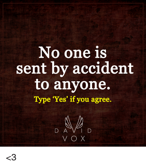 memes: No one is  sent by accident  to anyone.  Type Yes' if you agree.  D A V D <3