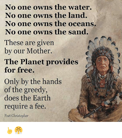 provident: No one owns the water.  No one owns the land.  No one owns the oceans.  No one owns the sand.  These are given  by our Mother.  The Planet provides  for free.  Only by the hands  of the greedy,  does the Earth  require a fee.  Poet Christopher ☝😤