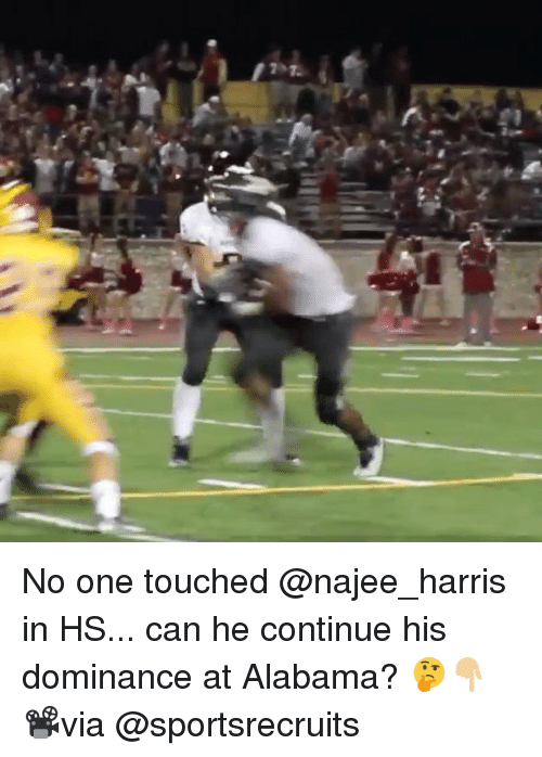 Memes, Alabama, and 🤖: No one touched @najee_harris in HS... can he continue his dominance at Alabama? 🤔👇🏼 📽via @sportsrecruits