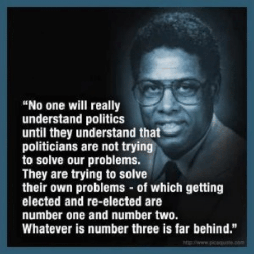 "Memes, Politics, and Politicians: ""No one will really  understand politics  until they understand that  politicians are not trying  to solve our problems.  They are trying to solve  their own problems of which getting  elected and re-elected are  number one and number two.  Whatever is number three is far behind."""