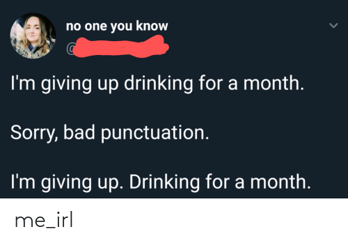 Im Giving Up: no one you know  I'm giving up drinking for a month.  Sorry, bad punctuation.  I'm giving up. Drinking for a month. me_irl