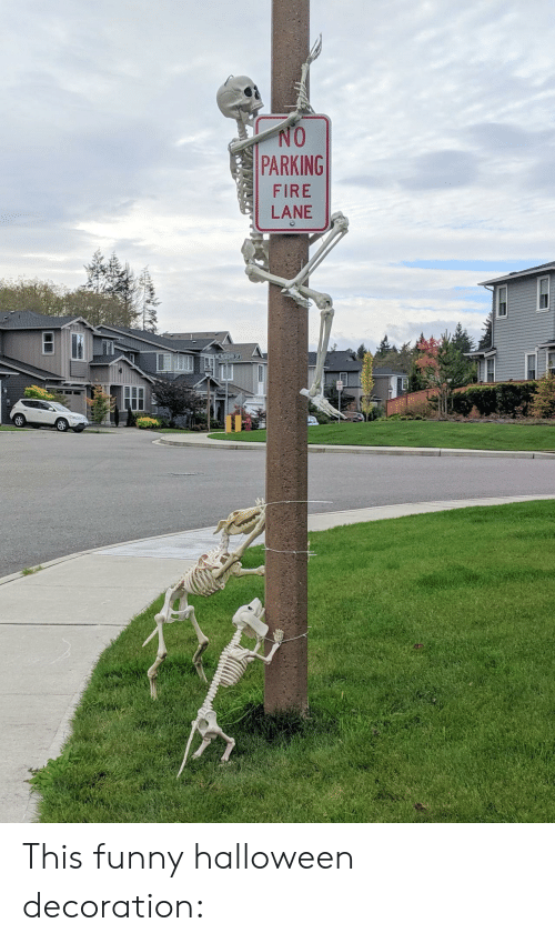Decoration: NO  PARKING  FIRE  LANE  I This funny halloween decoration: