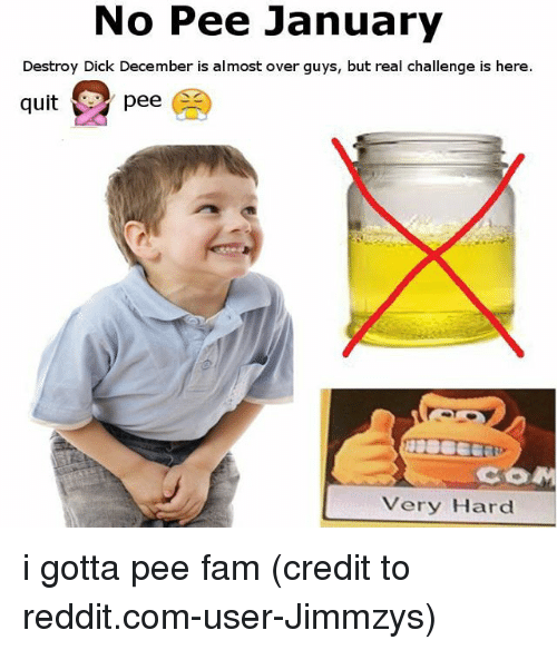 i gotta pee: No Pee January  Destroy Dick December is almost over guys, but real challenge is here.  qitpee  COM  Very Hard i gotta pee fam (credit to reddit.com-user-Jimmzys)