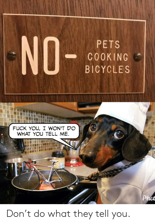 You Tell Me: NO-  PETS  COOKING  BICYCLES  FUCK YOU, I WON'T DO  WHAT YOU TELL ME  chsid.  Cfebrit  Phot Don't do what they tell you.