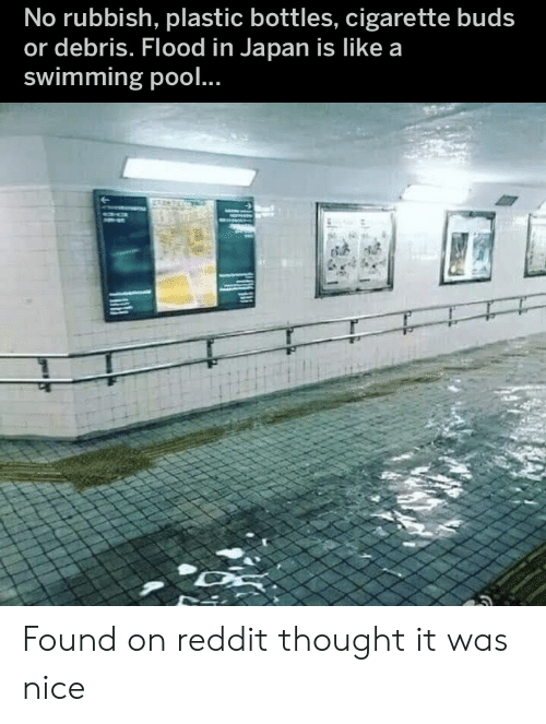 Swimming: No rubbish, plastic bottles, cigarette buds  or debris. Flood in Japan is Ilike a  swimming pool.. Found on reddit thought it was nice