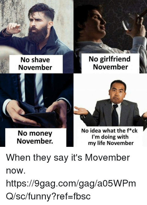 No Girlfriend: No shave  November  No girlfriend  November  No money  November.  No idea what the f*ck  I'm doing with  my life November When they say it's Movember now.  https://9gag.com/gag/a05WPmQ/sc/funny?ref=fbsc
