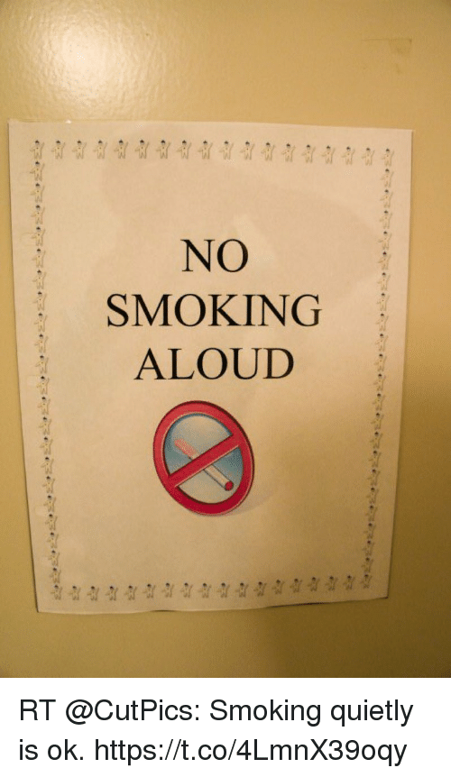 Memes, Smoking, and 🤖: NO  SMOKING  ALOUD RT @CutPics: Smoking quietly is ok. https://t.co/4LmnX39oqy